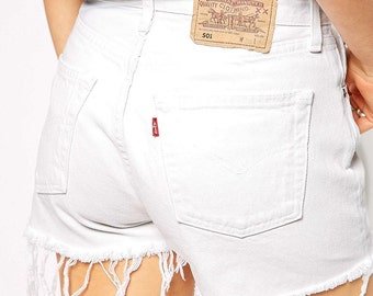 ALL SIZES Vintage White High Waisted Cut Off Levis