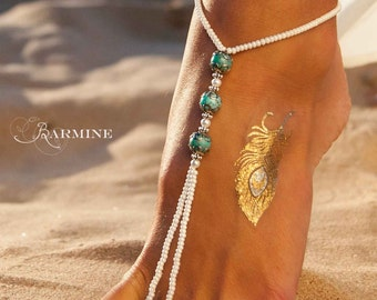 Boho Jewelry Barefoot sandals Turquoise Barefoot Sandals Yoga Sandals Boho chic Barefoot Beach Sandals Barefoot wedding Sandals Beach shoes