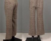 Vintage Mens 1970s Trousers -- Deadstock 70s Wide Leg Tweedy Faux Button Fly Men's Pants -- NOS NWT Size 31 x 30