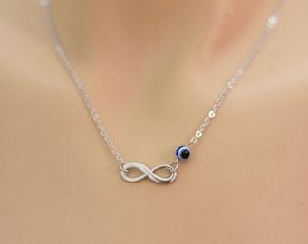 Infinity Necklace. Evil Eye Necklace. Bridal Necklace, Bridesmaid Necklace. Dainty, Feminine. Infinity &  Evil Eye Jewelry. Rhodium Plated