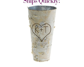 "Personalized Birch Bark Vase | Tall Rustic 9"" Vase