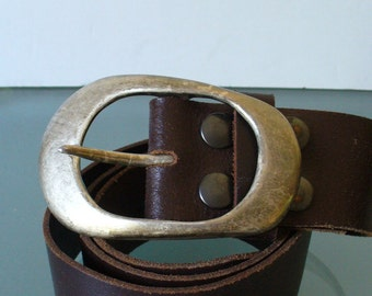 Vintage Made in Italy Heavy Leather Belt Size 34
