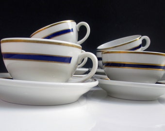 Shenango Restaurant Ware Cobalt Blue and Gold on White Cups and Saucers - Set of 3 (2 Sets Available)