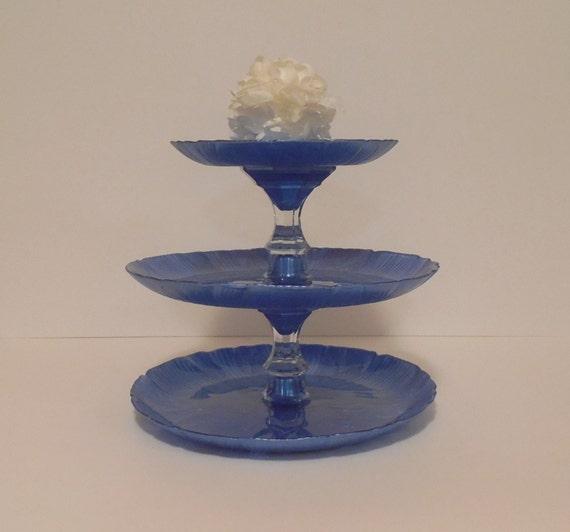Cobalt Blue 3 Tier Cake Stand Cupcake Stand Dessert Tower