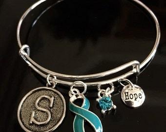 Teal Ribbon Initial Bracelet / Ovarian Cancer Survivor / Trigeminal Neuralgia, Myasthenia Gravis, Polycystic Kidney Disease, PCOS, PKD, PTSD