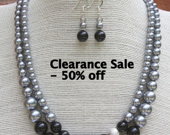 Grey Pearl Necklace - Bridesmaid Gift Set - Pearl Wedding Jewelry - Black Necklace
