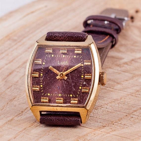 damenuhr gold luch armbanduhr braun armbanduhr frauen leder. Black Bedroom Furniture Sets. Home Design Ideas