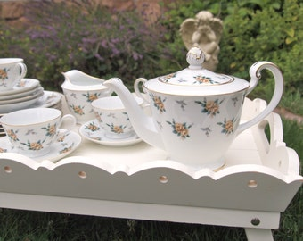 Vintage China Teapot Tea Set Noritake Nippon Yellow Roses Chintz - 19 Pieces -Teapot and Teacup Plate Set  -Shabby Cottage Chic Tea Party