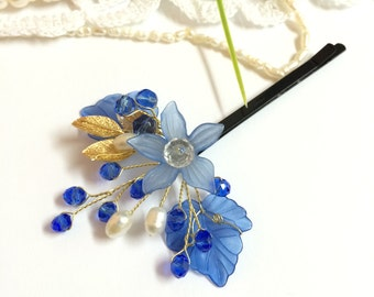 Mother of the bride hair accessories, mother of rhe bride bobby pin, mother of the groom hair pins, blue bobby pin, flower bobby pins