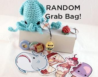 RANDOM Grab Bag - a random selection of cute & kawaii handmade plushies, charms, buttons, and stickers!