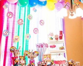 Candy Lollipop Cupcake Birthday theme PARTY SET package banner photo toppers