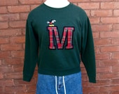 M Mickey Mouse Plaid Patch 70s Crew