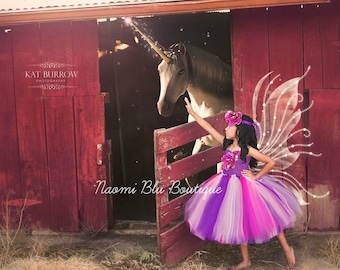 Naomi Blu Original Pink and Purpl Enchanted Butterfly Princess Fairy Tutu Dress. Flower Halo Wings Separately. Costume, Mini Sessions