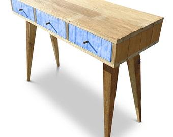 Flash Sale! Modern Mid Century Retro Danish Scandinavian Vintage Shabby Chic Eco Recycled Indigo Cobalt Blue Console / Desk / Dressing Table