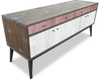 Modern Mid Century Retro Scandinavian Blush Pink & White Sideboard / Buffet / Entertainment Unit - Solid Timber, Recycled Wood