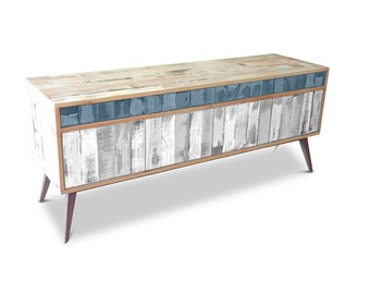 Retro Modern Mid Century Industrial Recycled Shabby Chic Country Farmhouse Sideboard / Buffet / Entertainment Unit - Navy & White