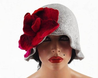 Flapper Hat Cloche hat GATSBY HAT Felted Hat Jazz Hat Grey Art Hat felt nunofelt nuno felt silk eco fiber art art deco