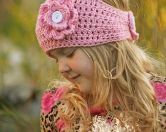 Crochet Ear Warmer - Crochet Head band - Crochet Flower - Ear Warmer - Pink Ear Warmer, Crochet Sparkle ear warmer - Sparkle - Flower - Band