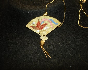 Painted Etched Colored Fan Flying Bird Necklace
