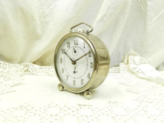 Large Working Vintage Mid Century Chrome Metal Jaz Wind Up Mechanical Alarm Clock, French Bedside Timepiece, Brocante Bedroom Decor