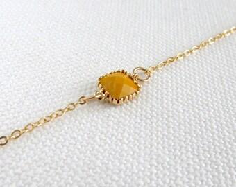 Mustard Yellow Gold Bracelet, Dainty Modern Everyday Jewelry, Tiny Petite