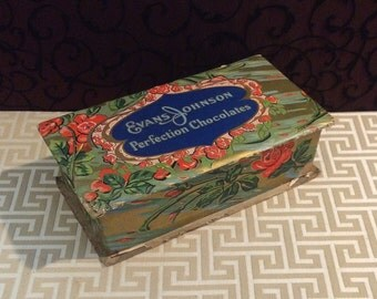 Art Nouveau Inspired Candy Box, Vintage Cardboard Candy Box, Antique Chocolates Box, Floral Flower, Evans Johnson, Romantic Red Roses
