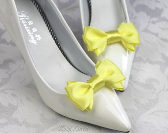 Yellow Shoe Clips, Yellow Bow Shoe Clip, Yellow Wedding Accessories Shoes Clip, Yellow Bow Clip Shoes