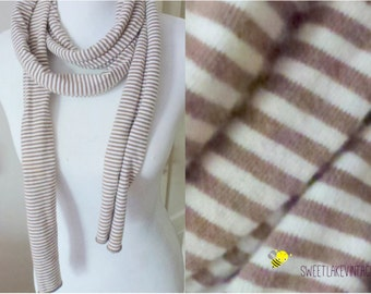 beige white striped scarf