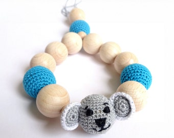 Baby teething ring toy Crochet Koala Bear Chew Beads Teether Motor Development  First toy - CHOOSE YOUR COLOR