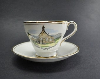 Royal Ascot Canada Cup and Saucer Vintage Barkerville Billy Barker Souvenir St Saviours Church