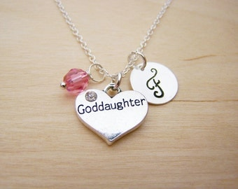 Goddaughter Charm Necklace -  Swarovski Birthstone Initial Personalized Sterling Silver Necklace / Gift for Her - Goddaughter Charm