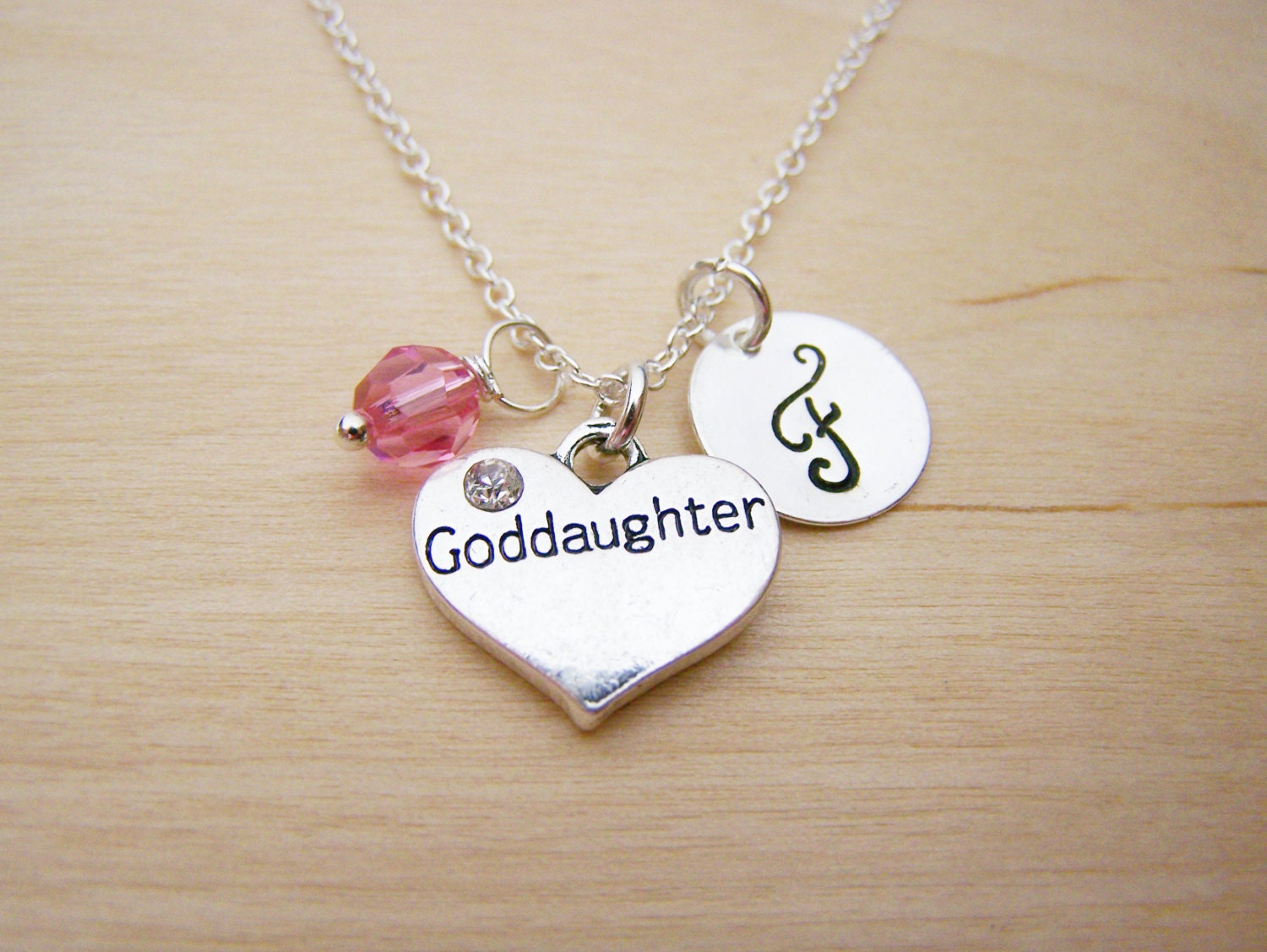 Gift For Goddaughter Birthstone Necklace Sterling By: Goddaughter Charm Necklace Swarovski Birthstone Initial