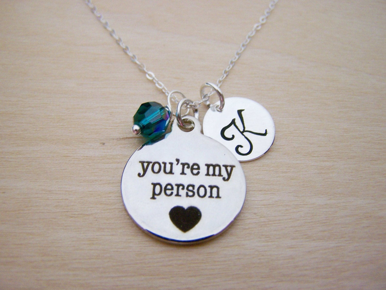 you re my person necklace swarovski birthstone initial