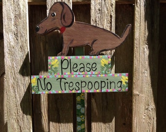 Dachshund No Poop Sign curb your dog sign