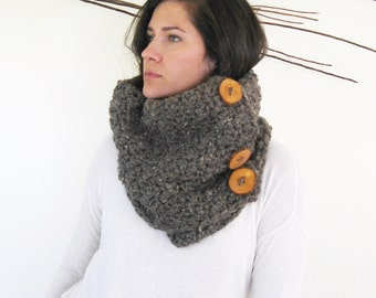 Brown Chunky Button Scarf  | Crochet Cowl | Crochet Infinity Scarf | Handmade Cowl Scarf | Trending Gifts