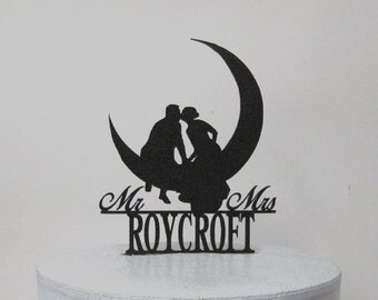 Custom Wedding Cake Topper - Kissing on the Moon with Mr & Mrs name