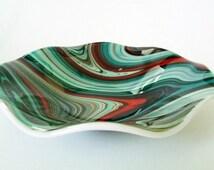 Fused Glass Bowl - Turquoise Orange Brown Swirl - Fused Glass Dish - Fruit Bowl - Decorative  Bowl - Serving Bowl - Southwestern Decor