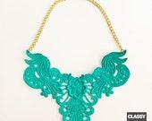 Aqua Dyed Lace Bib Statement Necklace - 18 inch