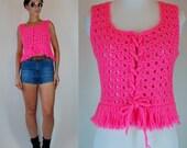 Vintage 70s Hot Pink Hand Crochet Knit Boho Fringe Lace up Mini sweater dress Top. Neon hippie festival Crop sheer boho Shirt. Extra Small