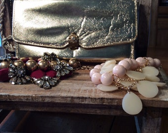 Vintage gold metallic formal clutch with jeweled clasp