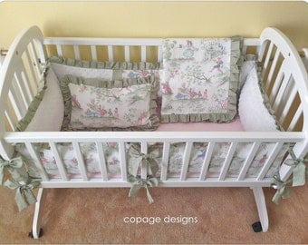 Pastel Over the Moon Toile Baby Cradle Bedding Set -- Includes Cradle Bumper, Baby Blanket, Fitted Sheet, & Accent Pillow Made-To-Order
