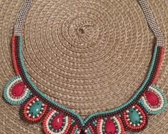 Senoria Basket Necklace,Native American, Inspired, Southwestern, Beaded, Bib, Handmade, Trendy , Dangle, Jewelry,