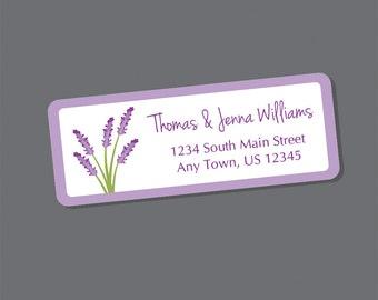 Lavender Address Labels, Return Address Labels, Address Stickers, Lavender Flowers, Personalized Address Labels, Wedding Labels, Spring