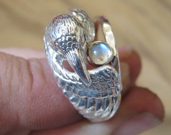 Moonstone Ring - White Raven Ring - Sterling Silver Double Ring - Pagan Ring - Witch Ring - Bird Ring - Totem Ring - Pagan Wedding Ring