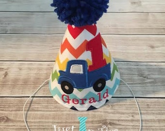 Truck Theme First Birthday Party Hat Transportation