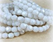 6mm Czech Fire Polished Glass Beads - Opaque White Beads (FP160) - Qty 30