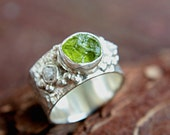 Rough Diamond Peridot Ring Sterling Silver Raw Diamond Engagement Ring Size 8,5-9 Gemstone Silversmithed Metalsmithed