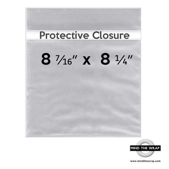 """100 -  8-7/16"""" x 8-1/4"""" Clear Bags for 8x8 Prints, Photographs, Art - Protective Closure - 1.6 mil Polypropylene - Acid Free Cello bags"""
