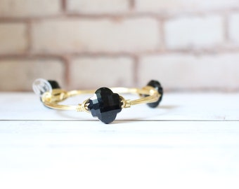 The Princess Grace - Monacco Black Crystal - Wire Wrapped Bangle