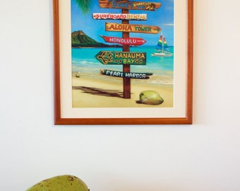 In Waikiki - hawaiian travel signpost art painting poster